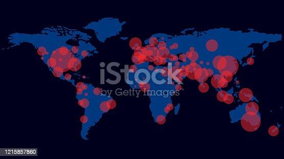Corona Virus infect on world map.