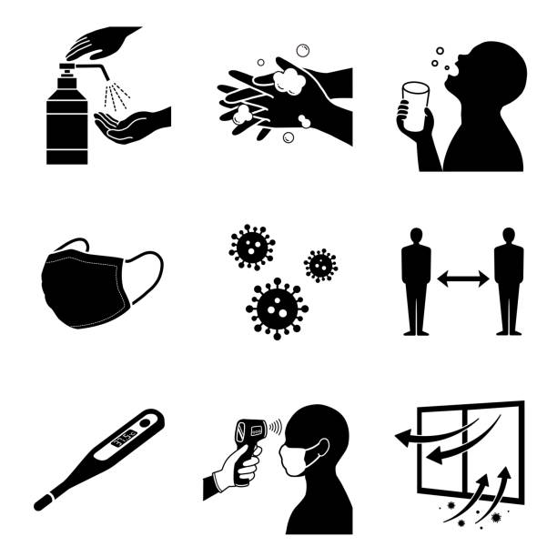 COVID-19 corona virus  Infectious disease prevention icon illustration set Medical illustration rubbing alcohol stock illustrations
