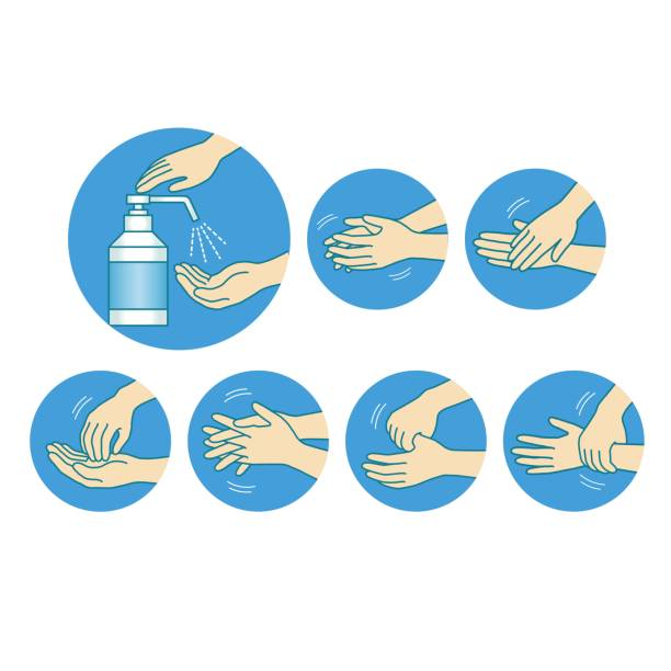 COVID-19 corona virus  Infectious disease prevention icon illustration Medical illustration rubbing alcohol stock illustrations