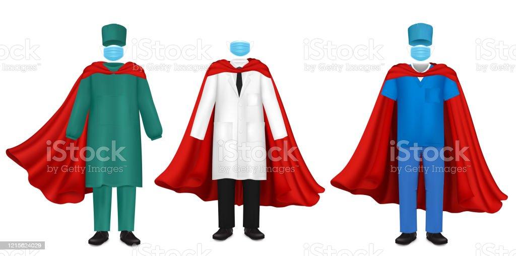 Corona Virus Pandemic Doctor Super Hero Set Vector Flat Illustration Stock Illustration Download Image Now Istock