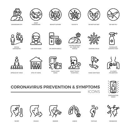 Corona virus prevention and symptoms line icon