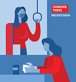 Woman wearing protective face masks in outdoor and washing hand. Flat design vector illustration