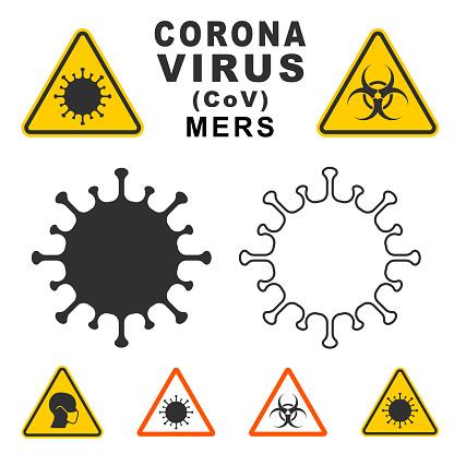 MERS Corona Virus warning icon shape. biological hazard risk logo symbol. Contamination epidemic virus danger sign. vector illustration image. Isolated on white background.