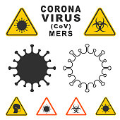 istock MERS Corona Virus warning icon shape. biological hazard risk logo symbol. Contamination epidemic virus danger sign. vector illustration image. Isolated on white background. 1202913461