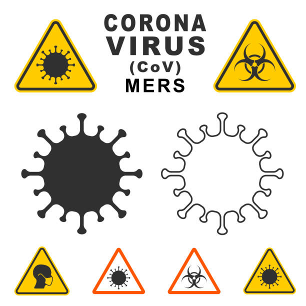 mers corona virus warning icon shape. biological hazard risk logo symbol. contamination epidemic virus danger sign. vector illustration image. isolated on white background. - virus stock illustrations