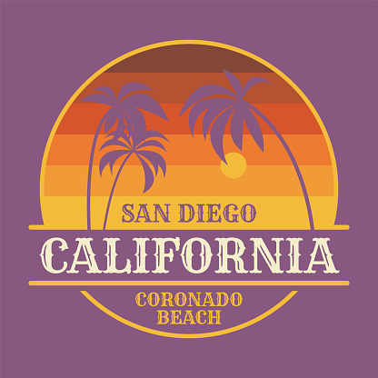 Coronado Beach in San Diego, graphic t-shirt design, poster or print