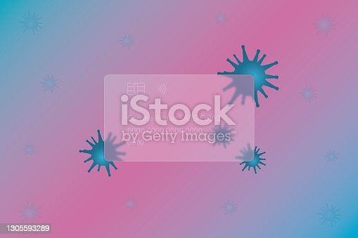 istock Coronaviridae SARS-CoV-2. Transparent credit card. Frosted glass. Bright coronavirus. Colored vector illustration. Isolated colorful background. Style Glass morphism. Credit card lettering. Virus ornament. The spread of a dangerous infection. 1305593289