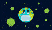 Coronavirus 2019-nCoV Concept Illustration. La Terre avec le masque de visage de respirateur et les virus de Corona dans le fond de l'espace.
