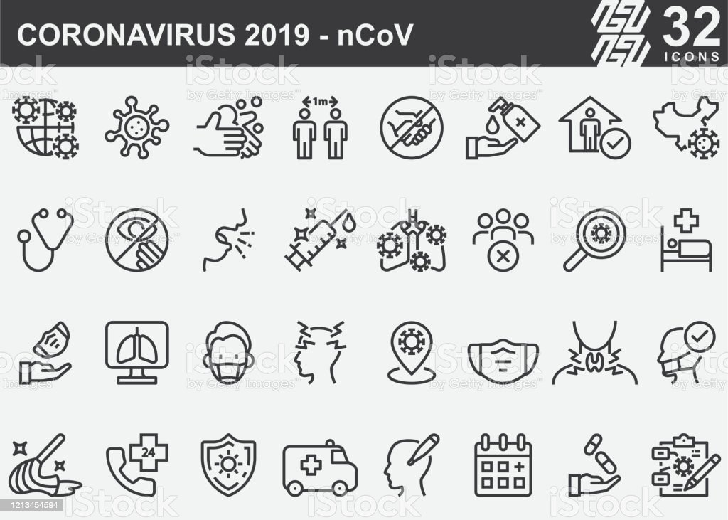 Coronavirus 2019-nCoV Disease Prevention Line Icons Coronavirus 2019-nCoV Disease Prevention Line Icons Accidents and Disasters stock vector