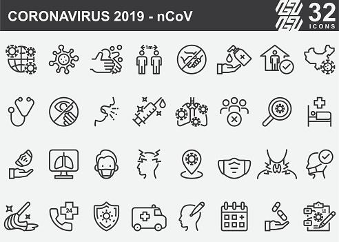Coronavirus 2019-nCoV Disease Prevention Line Icons