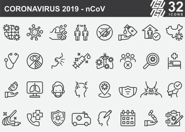 ilustraciones, imágenes clip art, dibujos animados e iconos de stock de iconos de la línea de prevención de enfermedades del coronavirus 2019-ncov - covid 19