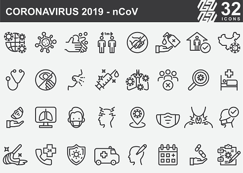 Coronavirus 2019ncov Disease Prevention Line Icons Stock Illustration - Download Image Now