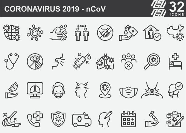 Coronavirus 2019-nCoV Disease Prevention Line Icons Coronavirus 2019-nCoV Disease Prevention Line Icons covid mask stock illustrations