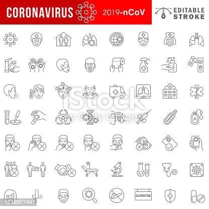 Set of Coronavirus 2019-nCoV Related Line Icons. Editable Stroke.