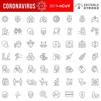 Coronavirus 2019-nCoV disease symptoms and prevention icon set.