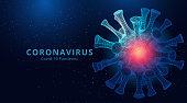 Coronavirus 2019-nCov novel coronavirus low poly abstract concept. vector illustration
