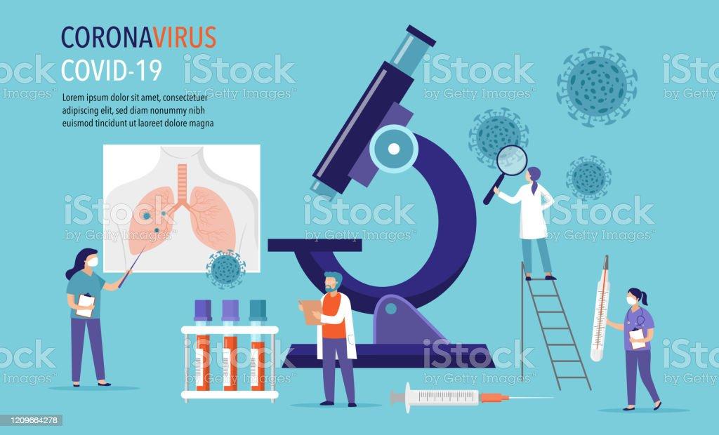 Coronavirus 2019-nCoV Szene: Forschung und Entwicklung von Medikamenten. Gruppe von Scientiests, Ärzte, die im Labor arbeiten. Vektor-Illustration - Lizenzfrei Allergie Vektorgrafik