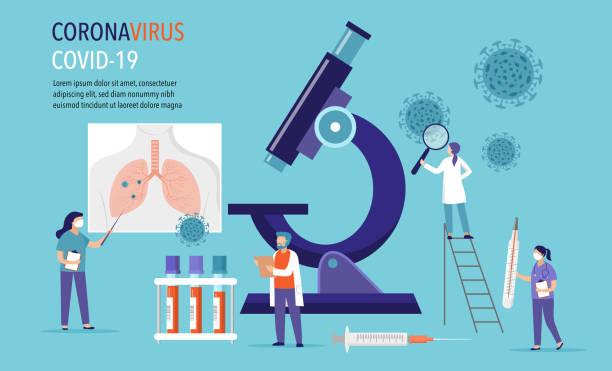 bildbanksillustrationer, clip art samt tecknat material och ikoner med coronavirus 2019-ncov scen: forskning och utveckling av medicinering. grupp av scientiests, läkare som arbetar i laboratorium. vektorillustration - corona test