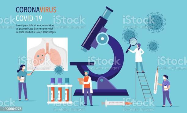 Coronavirus 2019ncov Szene Forschung Und Entwicklung Von Medikamenten Gruppe Von Scientiests Ärzte Die Im Labor Arbeiten Vektorillustration Stock Vektor Art und mehr Bilder von Allergie
