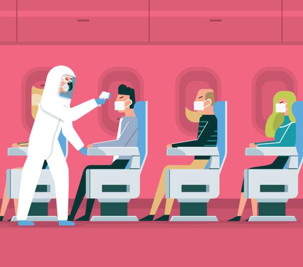 ilustrações de stock, clip art, desenhos animados e ícones de coronavirus - air vehicle - covid flight
