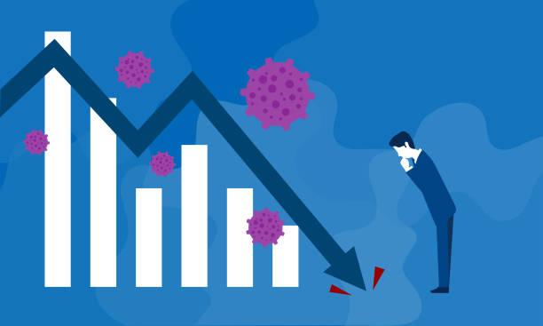coronavirus and businessman image,vector illustration,blue background - unemployment stock illustrations