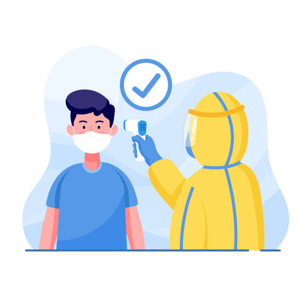 Coronavirus and covid-19 man wearing protective suits measures the man temperature for protect coronavirus. world Corona virus and covid-19 outbreaking and pandemic attack concept. fever stock illustrations