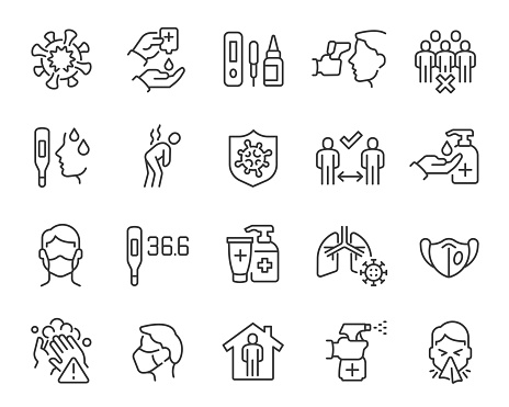 Coronavirus and Flu updated Icon Set. Collection of simple linear web icons such Coronavirus Infection, Symptoms, Social Distance, Hand Washing, Coronavirus Test, Antiseptic, Mask, Temperature and others. Editable vector stroke