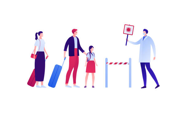 Coronavirus and quarantine virus disease concept. Vector flat person illustration. Family with kid and baggage and doctor in medical head mask with stop virus sign. Design for medicine infographic. Coronavirus and quarantine virus disease concept. Vector flat person illustration. Family with kid and baggage and doctor in medical head mask with stop virus sign. Design for medicine infographic. airport borders stock illustrations