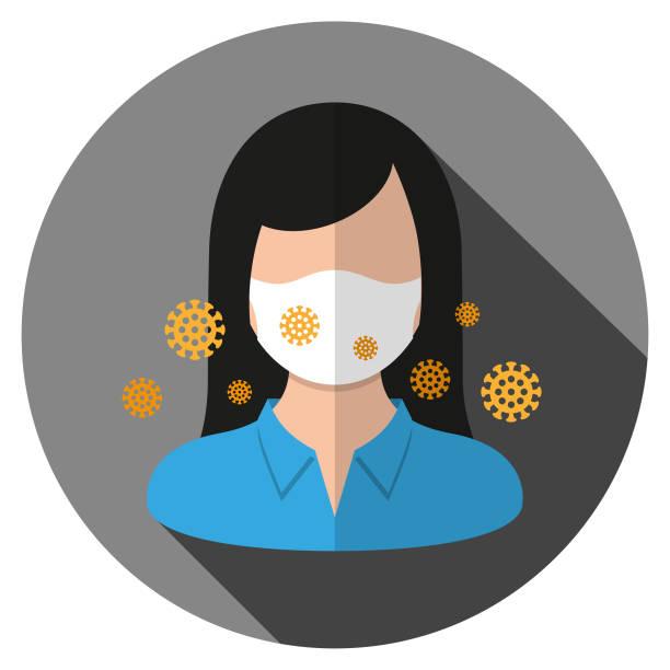 bildbanksillustrationer, clip art samt tecknat material och ikoner med coronavirus - affärskvinna bär ansiktsmask - face mask