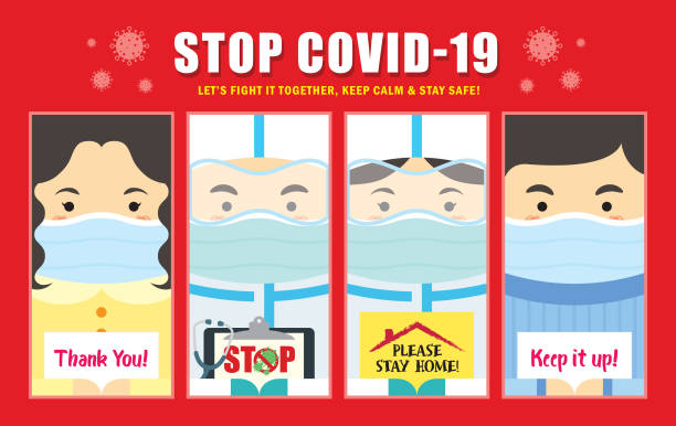 Coronavirus (covid-19) - cartoon doctor & nurse with people in medical face mask holding sign Cartoon doctor, nurse & people in medical face mask holding sign. Quarantine campaign of stay at home, stop coronavirus (covid-19) outbreak flat design. illness prevention stock illustrations
