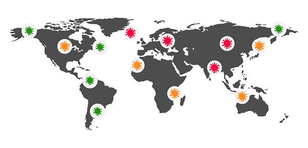 Coronavirus cases map. Banner with world map and virus icon. Vector image.