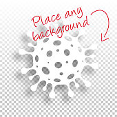 Cell of the novel coronavirus (COVID-19, 2019-nCoV) with space for your text and your background. Creative icon with a flat design style and drop shadow. Blank background for easy change background or texture. Vector Illustration (EPS10, well layered and grouped). Easy to edit, manipulate, resize or colorize.