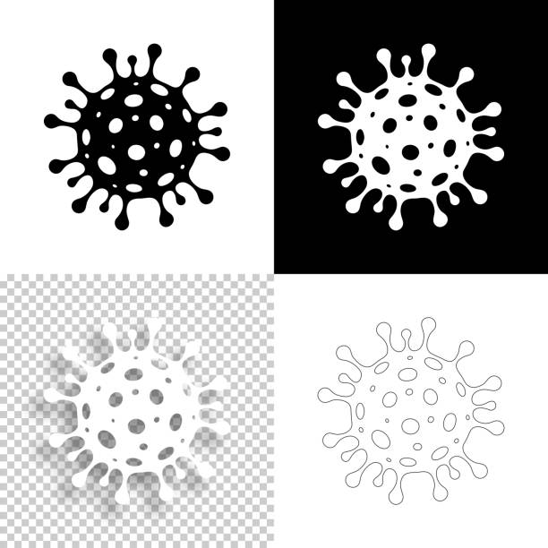 coronavirus cell icons (covid-19) for design - blank, white and black backgrounds - coronavirus stock illustrations