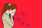 Vector illustration of a woman spreads coronavirus while sneezing