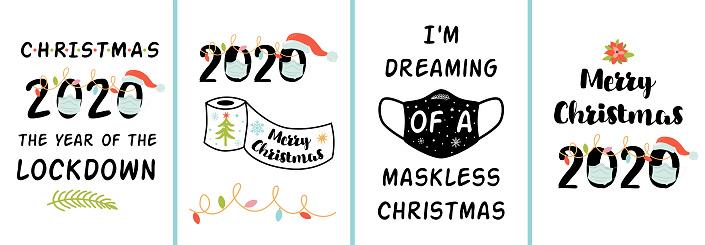 Coronavirus Christmas 2020 posters set Merry Quarantined Christmas funny quotes, covid lockdown phrases Vector