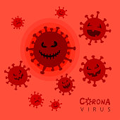 Coronavirus concept. Covid-19 cartoon character.