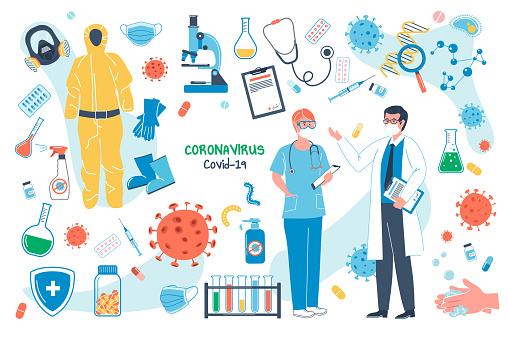 Coronavirus concept isolated elements set. Bundle of covid-19, doctor talking to nurse, medical instruments, protective masks and suits, virus research. Vector illustration in flat cartoon design