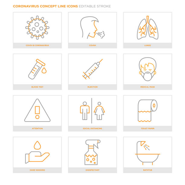 Coronavirus Concept Line Icons. Editable Stroke vector art illustration