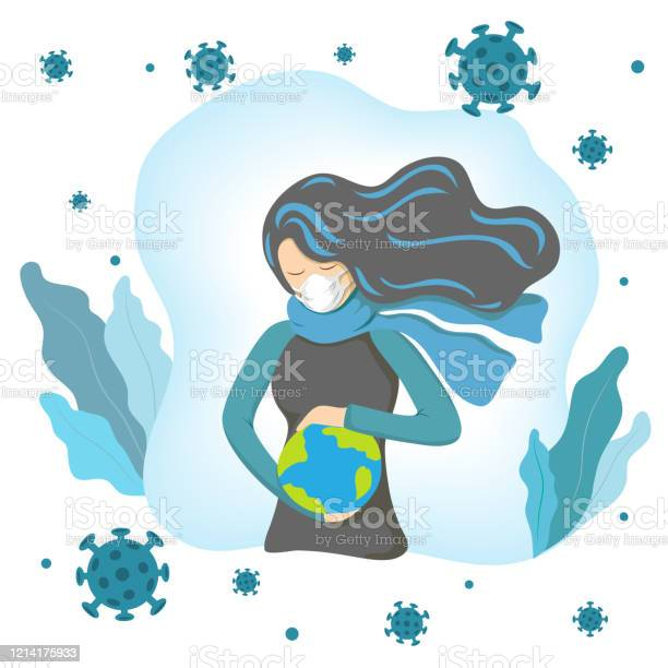 Coronavirus Concept Woman In Medical Face Mask Holds Planet In Hand And Saves It From Flying Around Coronaviruses Biological Hazard Illustrationrespiratory Virus Outbreak On Earth World Protection Stock Illustration - Download Image Now