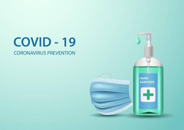illustrazioni stock, clip art, cartoni animati e icone di tendenza di coronavirus concepts. hand sanitizer and medical mask on green background - hand on glass covid