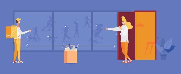 ilustrações de stock, clip art, desenhos animados e ícones de coronavirus contactless food delivery quarantine. concept scene with window showing different people in masks - covid restaurant