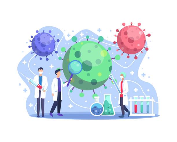 ilustraciones, imágenes clip art, dibujos animados e iconos de stock de laboratorio de investigación de vacunas médicas coronavirus cov - covid 19 vaccine