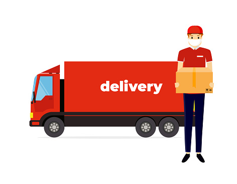 Coronavirus, covid 19 quarantine delivery. Online order and food or product express delivery concept. Courier with medical, protective, respiratory mask. Flat design modern vector illustration concept