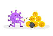 Coronavirus covid-19 economic crisis concept - evil virus blows up golden coins or money, corona pandemic and global financial situation in the world - flat cartoon character spot illustration vector