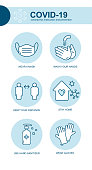 istock Coronavirus Covid prevention tips icon, how to prevent. Infographic element health and medical Wuhan vector illustration mask, wash hands, keep distance, stay home 1223627411