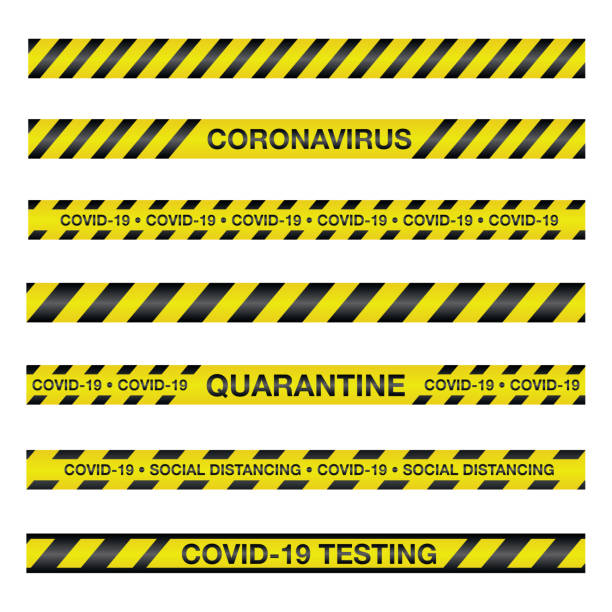 coronavirus covid-19 caution tape illustration - covid testing stock illustrations