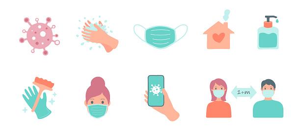 CoronaVirus Covid-19 colored icons and social design elements. Vector illustration.