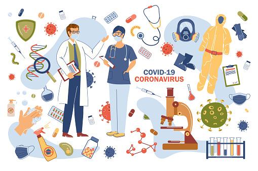 Coronavirus covid-19 concept isolated elements set