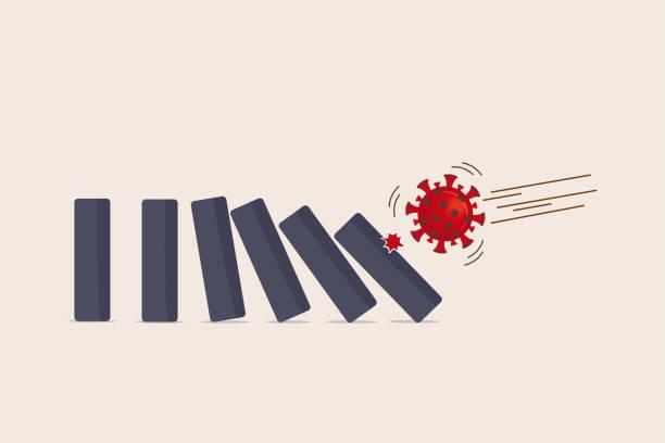 bildbanksillustrationer, clip art samt tecknat material och ikoner med coronavirus covid-19 kris påverkar finansiella och världsekonomin skapa dominoeffekt på finanskrisen och ekonomisk recession koncept, covid-19 virus patogen inverkan domino skapa falla domino effekt. - kontinuitet