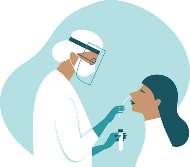 Coronavirus COVID-19 diagnostics. Doctor wearing full antiviral protective gear making nasal swab test for patient. vector art illustration